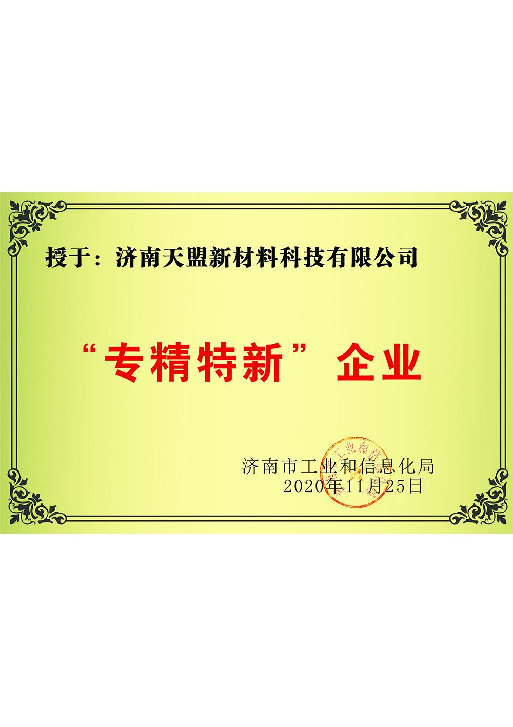 热喷涂专精特新企业证书